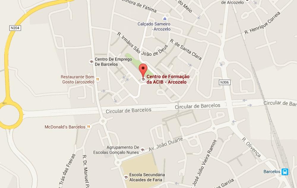 mapa arcozelo barcelos ACIB   Associação Comercial e Industrial de Barcelos   Localização  mapa arcozelo barcelos